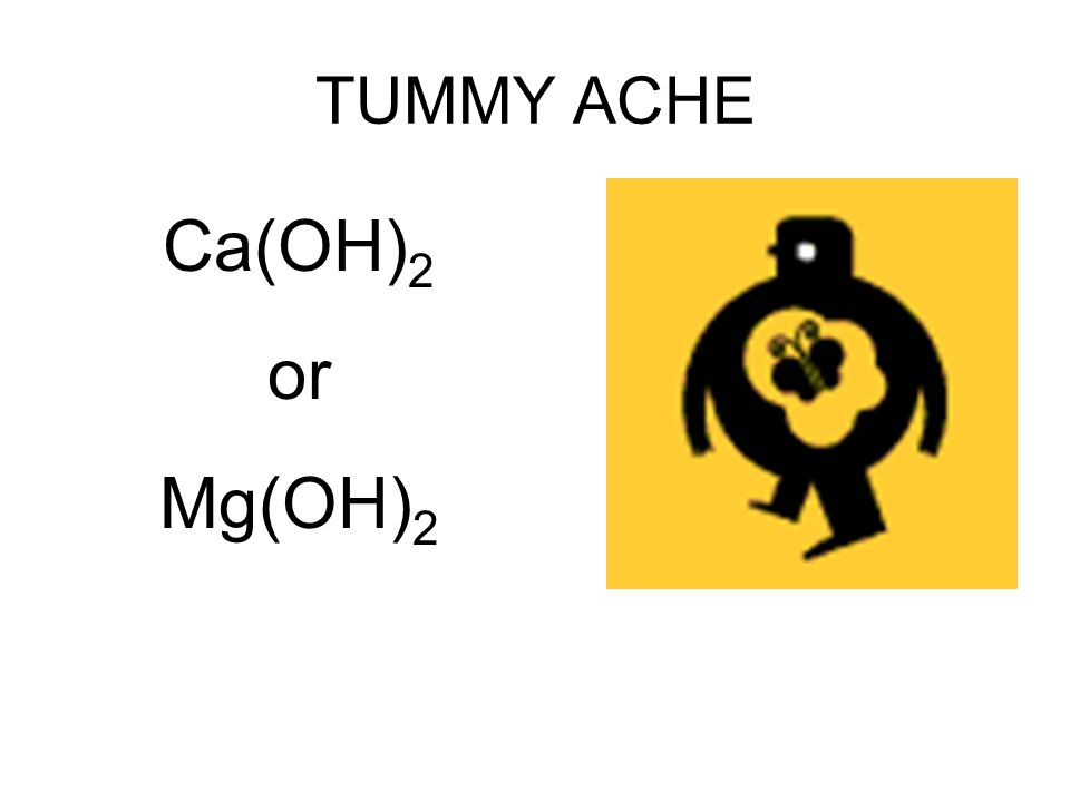 TUMMY ACHE Ca(OH)2 or Mg(OH)2