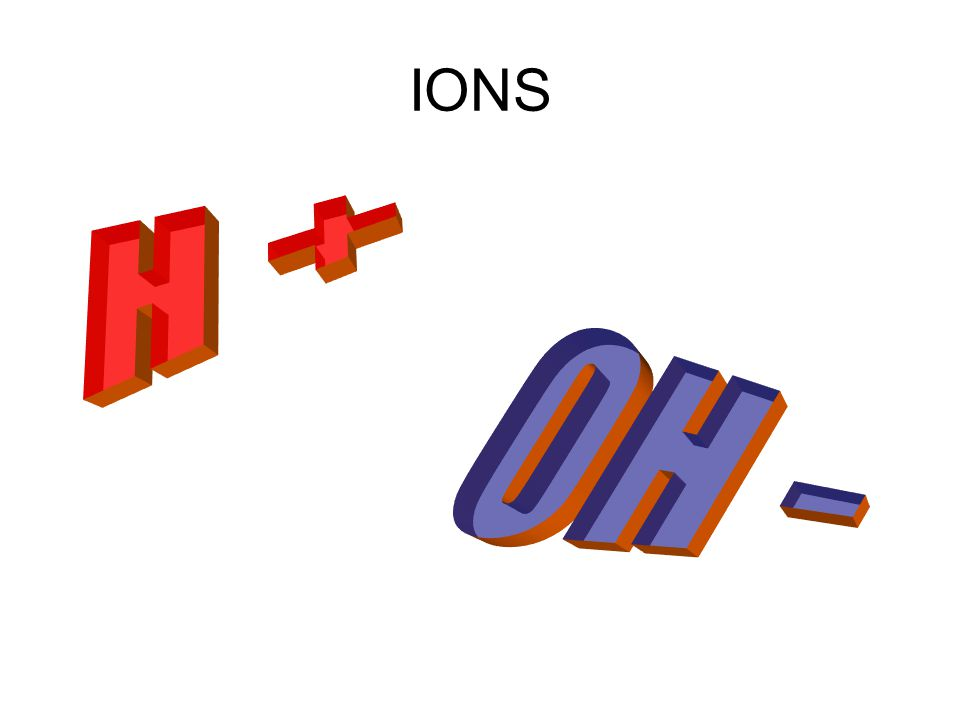 IONS H + OH -