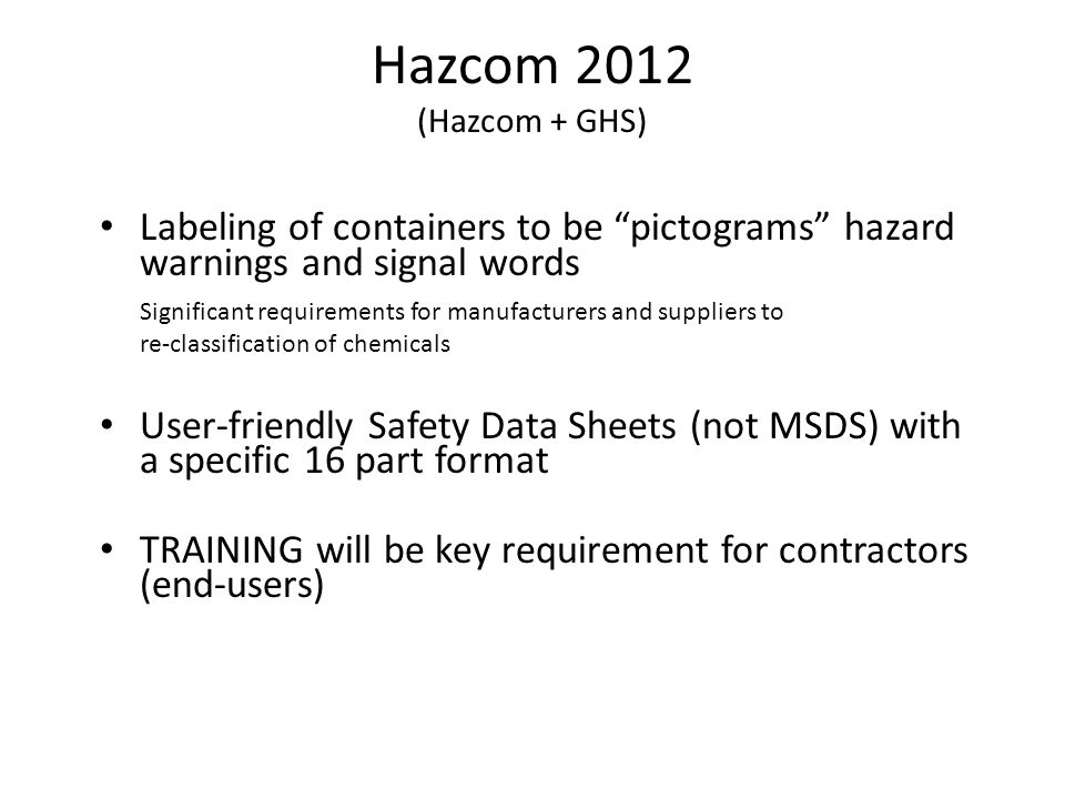 Hazard Communication Aka Right To Know Globally Harmonized