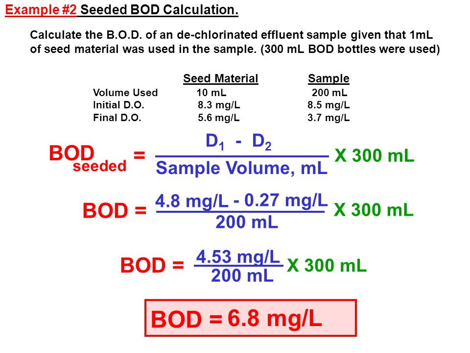 6.8 mg/L BOD = BOD = BOD = BOD = D1 - D2 X 300 mL Sample Volume, mL