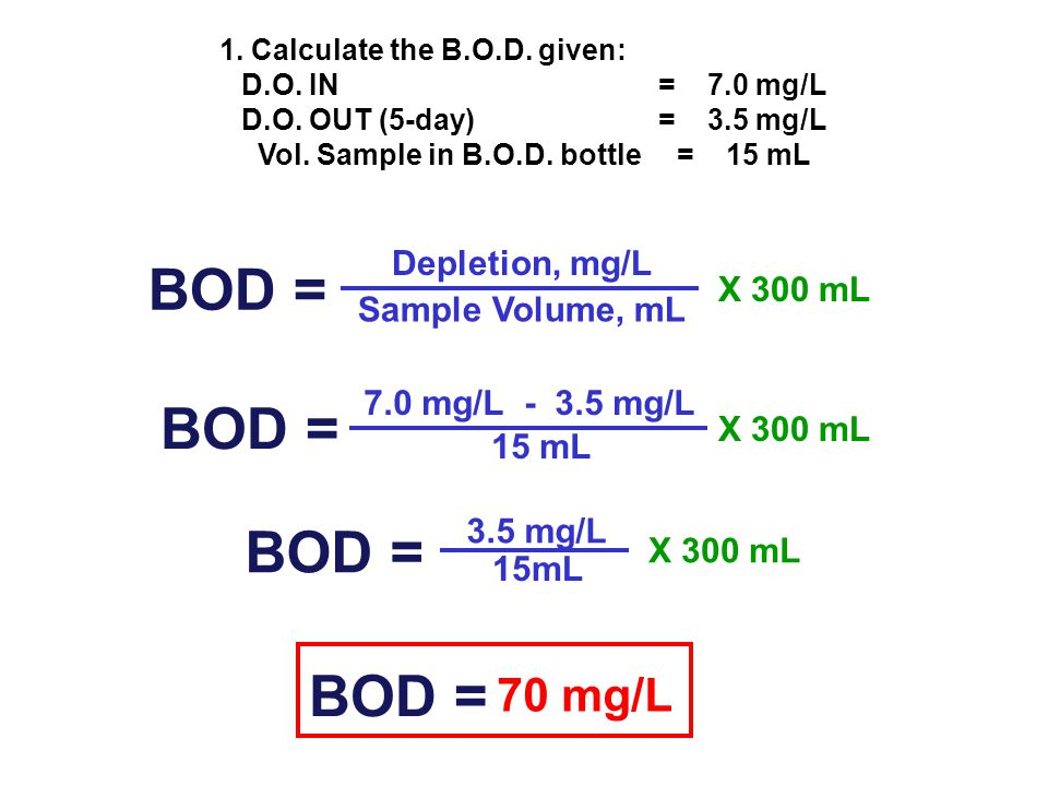 1. Calculate the B.O.D. given: Vol. Sample in B.O.D. bottle = 15 mL