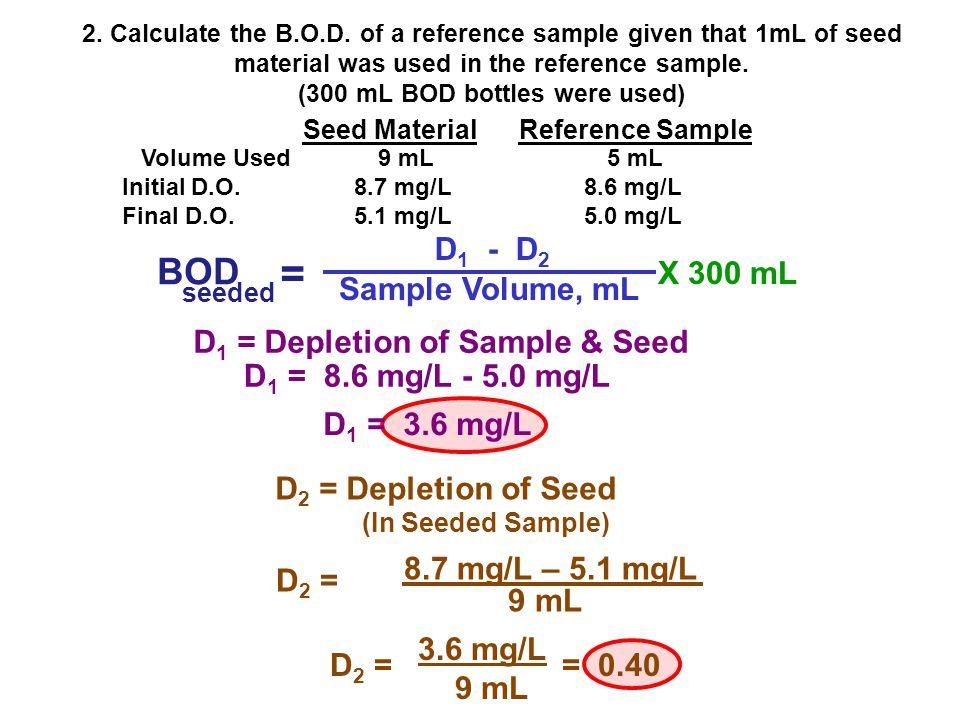 = BOD D1 - D2 X 300 mL Sample Volume, mL