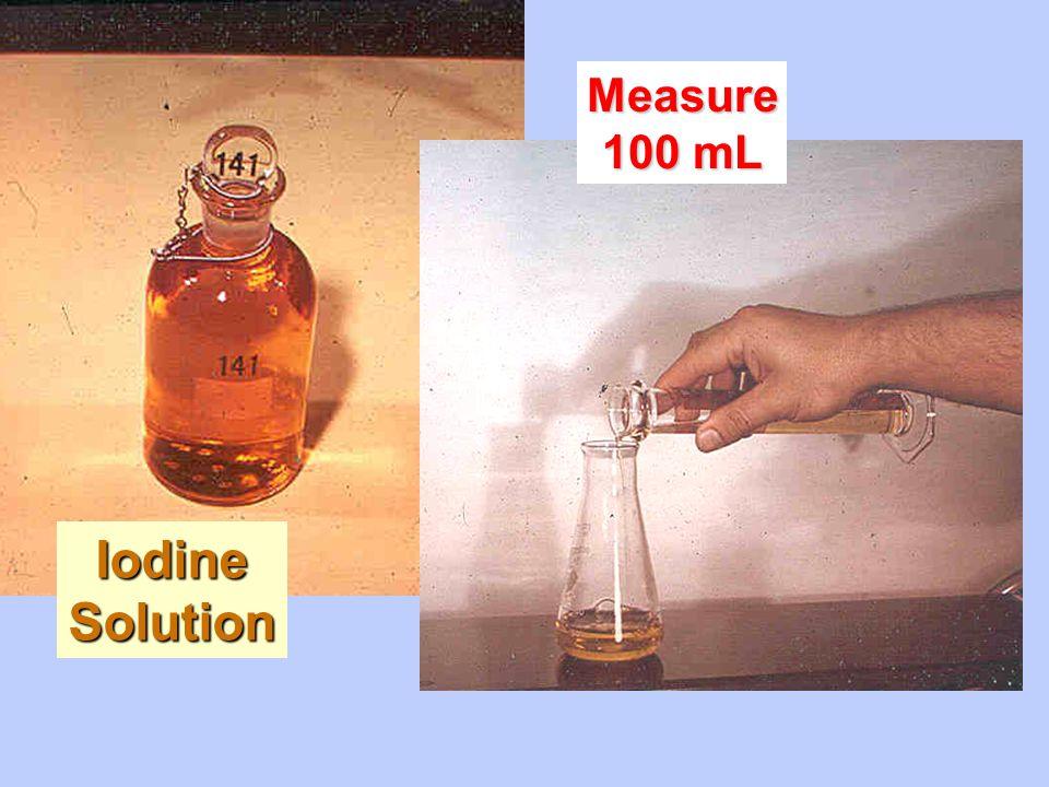 Measure 100 mL Iodine Solution