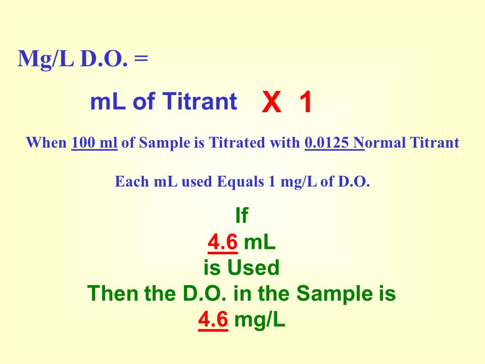 X 1 Mg/L D.O. = mL of Titrant If 4.6 mL is Used