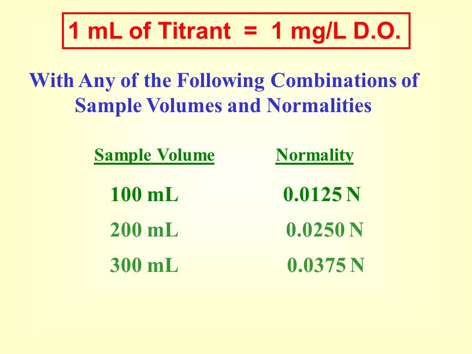 1 mL of Titrant = 1 mg/L D.O. With Any of the Following Combinations of. Sample Volumes and Normalities.