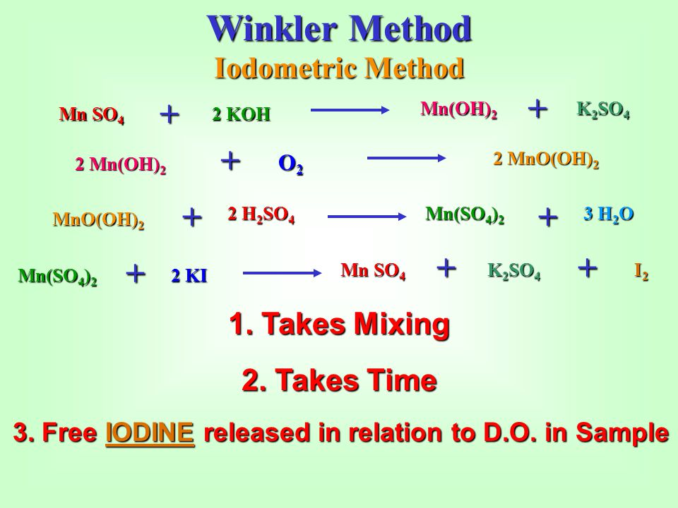 Winkler Method + + + + Iodometric Method 1. Takes Mixing 2. Takes Time