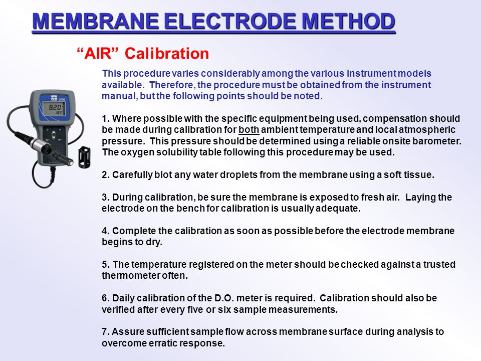 MEMBRANE ELECTRODE METHOD