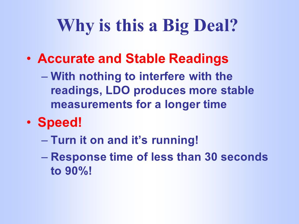 Why is this a Big Deal Accurate and Stable Readings Speed!