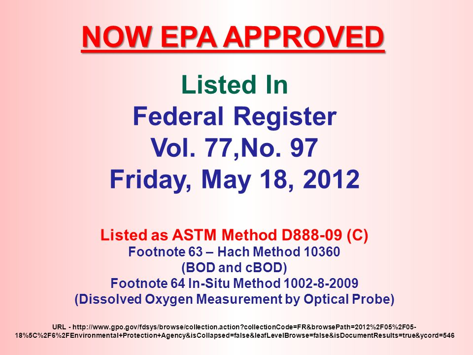 NOW EPA APPROVED Listed In Federal Register Vol. 77,No. 97