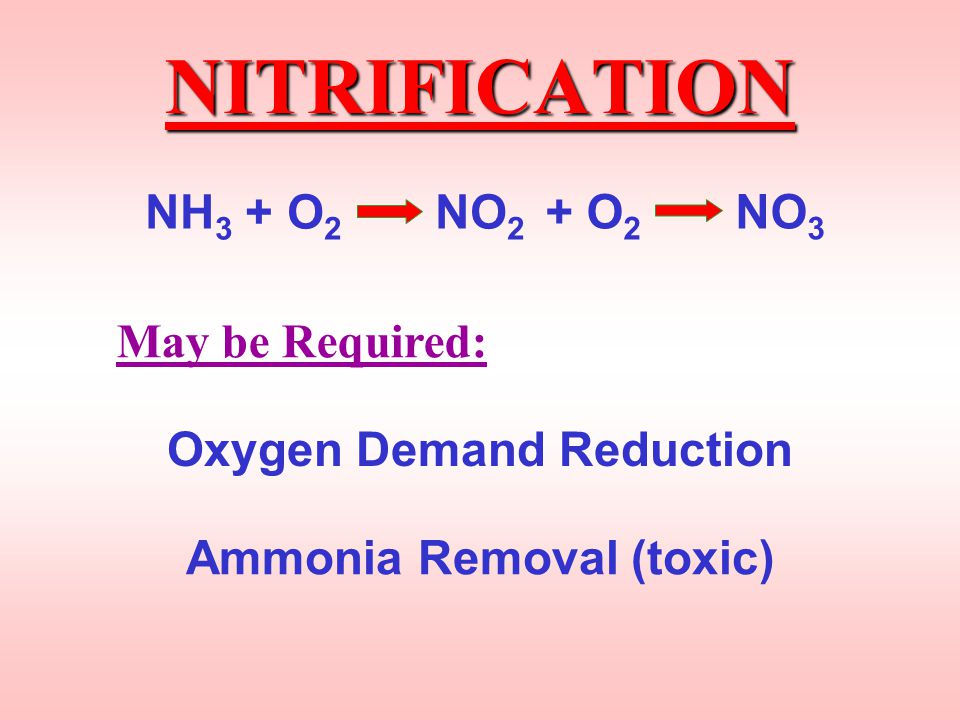 Oxygen Demand Reduction Ammonia Removal (toxic)