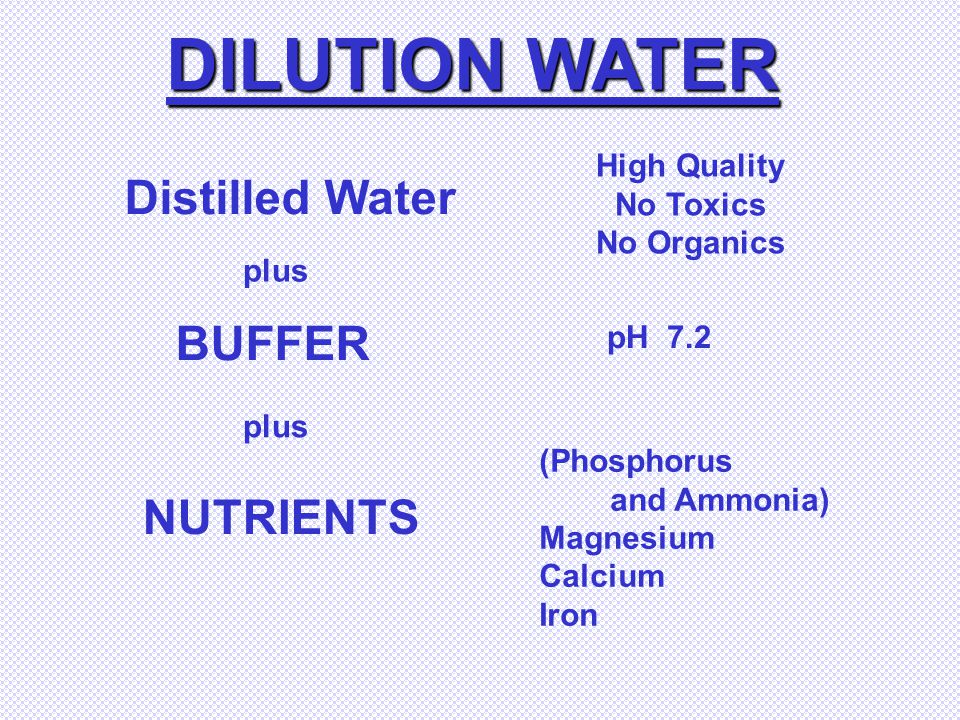 DILUTION WATER Distilled Water BUFFER NUTRIENTS High Quality No Toxics