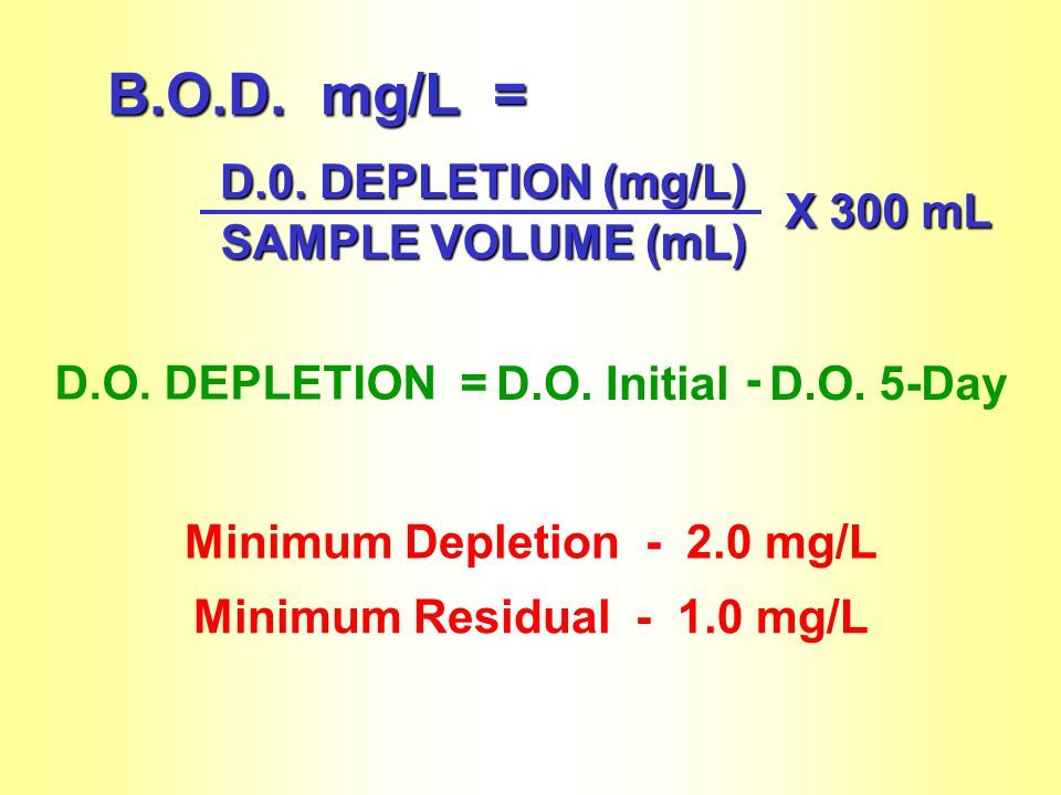 Minimum Depletion - 2.0 mg/L Minimum Residual - 1.0 mg/L