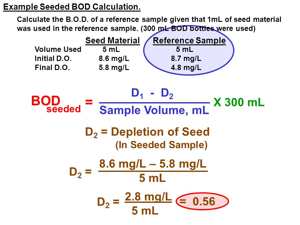 BOD = D1 - D2 X 300 mL Sample Volume, mL D2 = Depletion of Seed