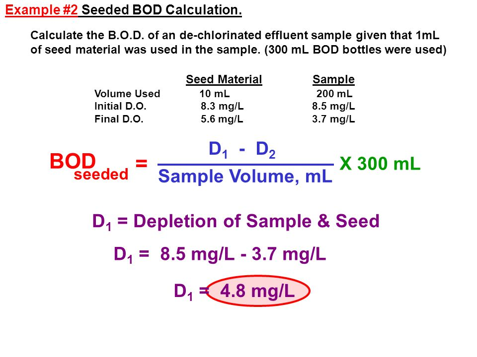 BOD = D1 - D2 X 300 mL Sample Volume, mL