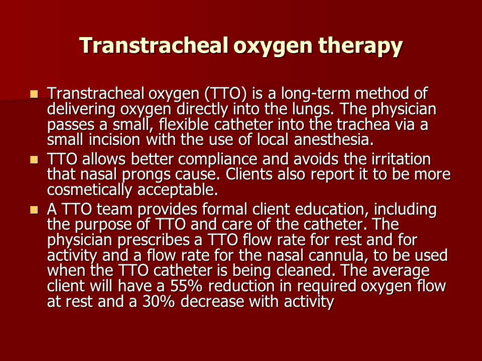 Transtracheal oxygen therapy
