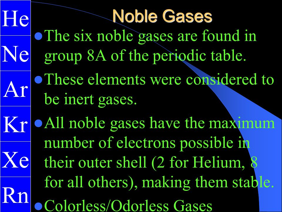 Noble Gases Exist As Gases At Room Temperature