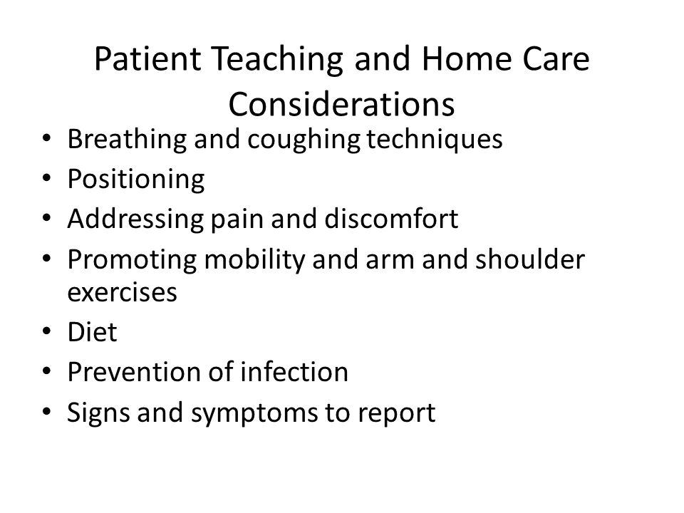 Patient Teaching and Home Care Considerations