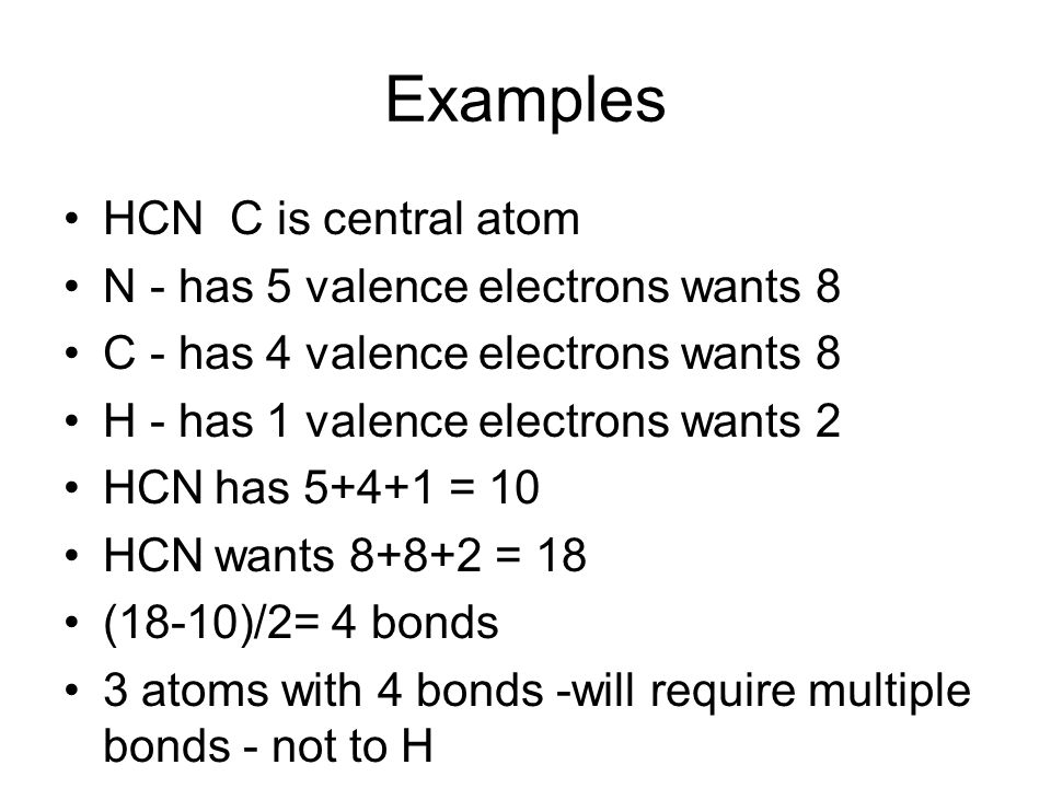 Examples HCN C is central atom N - has 5 valence electrons wants 8