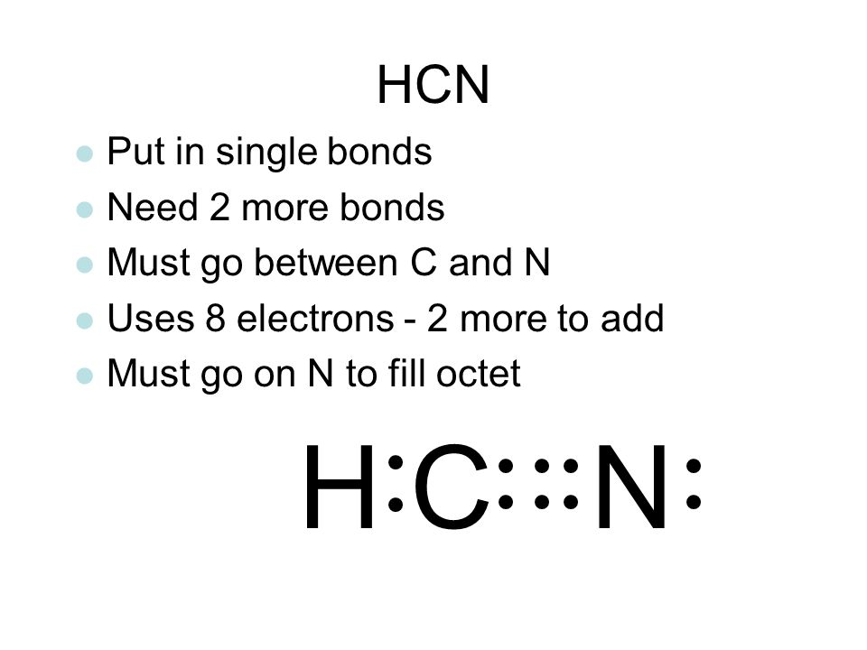 H C N HCN Put in single bonds Need 2 more bonds