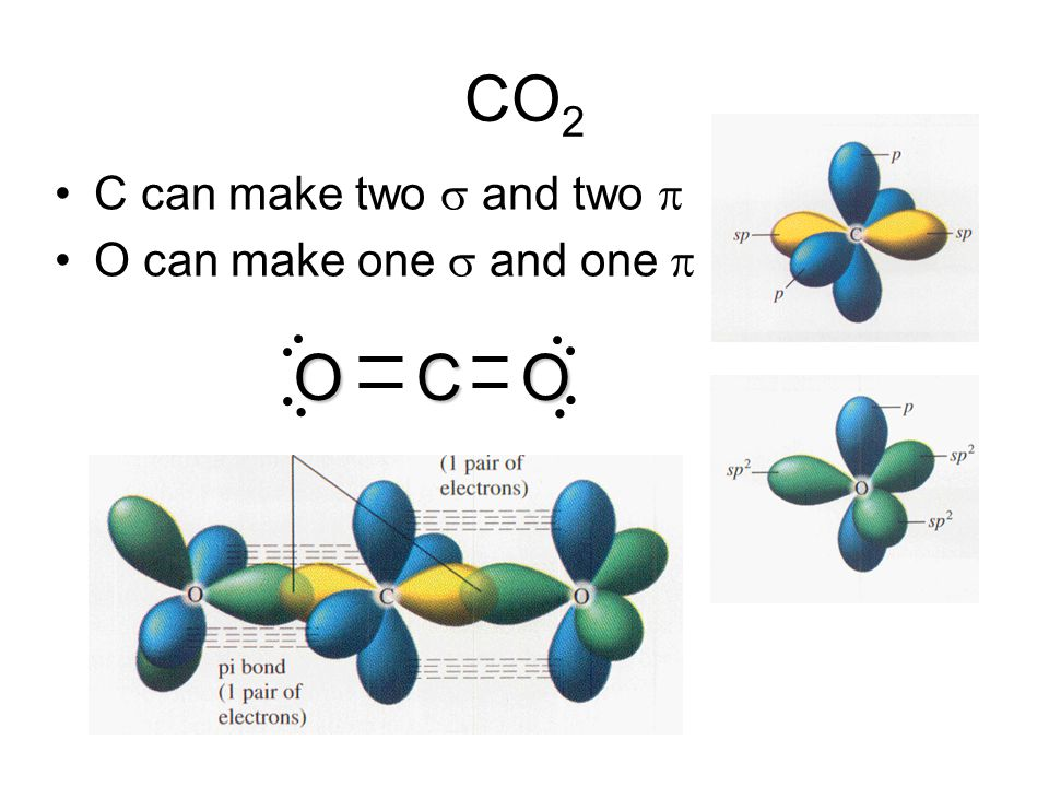 CO2 C can make two s and two p O can make one s and one p O C O
