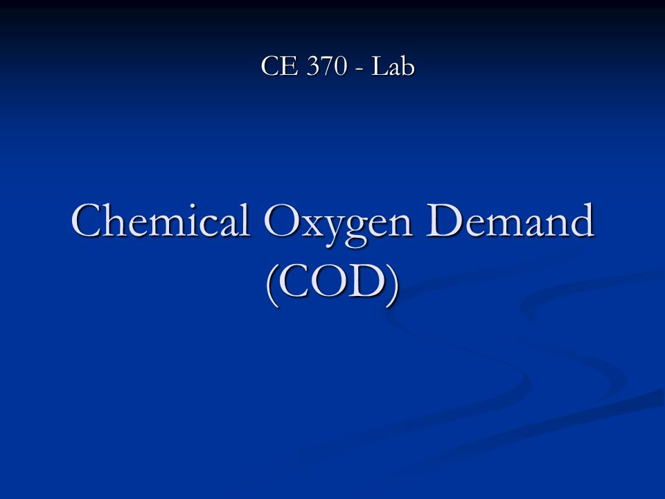 chemical oxygen demand A chemical oxygen demand (cod) test is used to measure the amount of organic compounds in a water sample it measures the capacity of water to consume oxygen during the decomposition of organic matter and the oxidation of inorganic chemicals such as ammonia and nitrate.