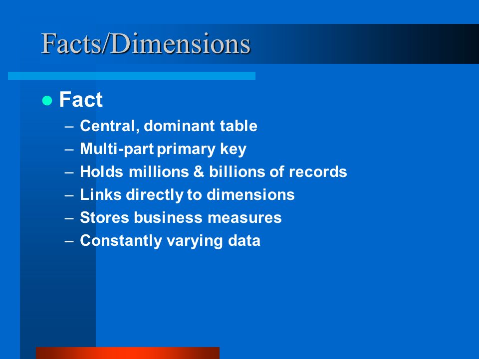 Facts/Dimensions Fact Central, dominant table Multi-part primary key