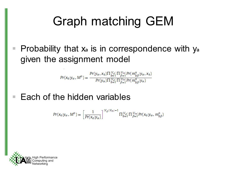 Graph matching GEM Probability that xa is in correspondence with ya given the assignment model.