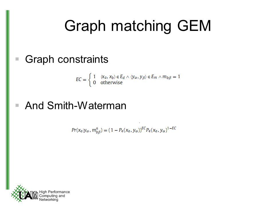 Graph matching GEM Graph constraints And Smith-Waterman
