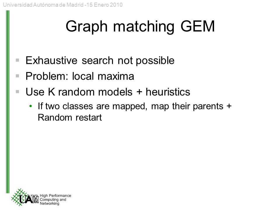 Graph matching GEM Exhaustive search not possible