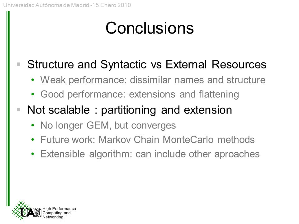 Conclusions Structure and Syntactic vs External Resources