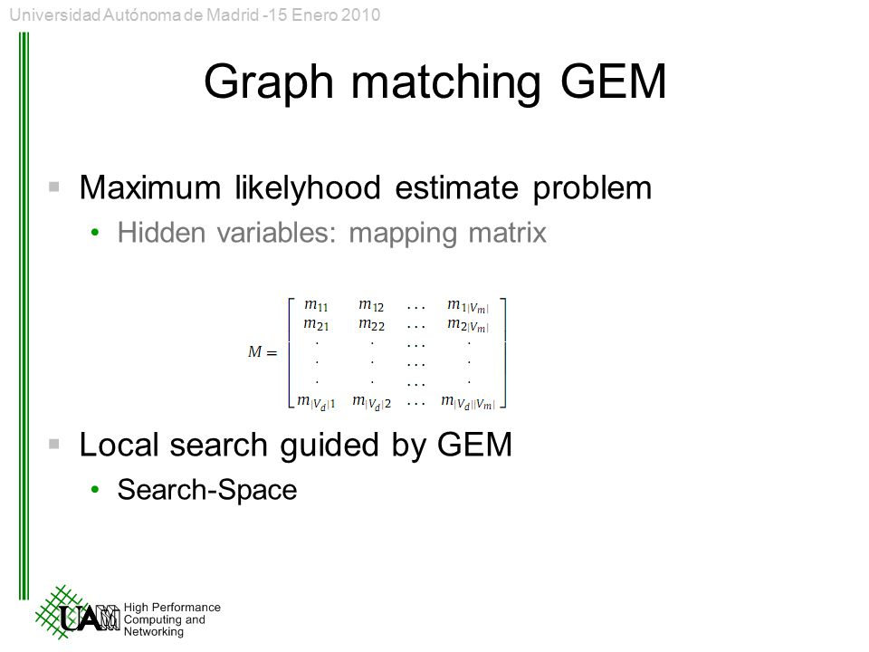 Graph matching GEM Maximum likelyhood estimate problem