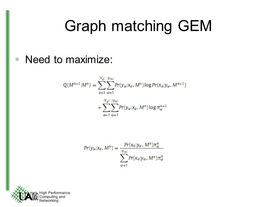 Graph matching GEM Need to maximize: