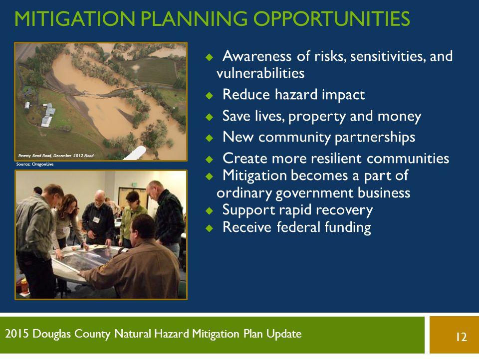 Mitigation planning opportunities