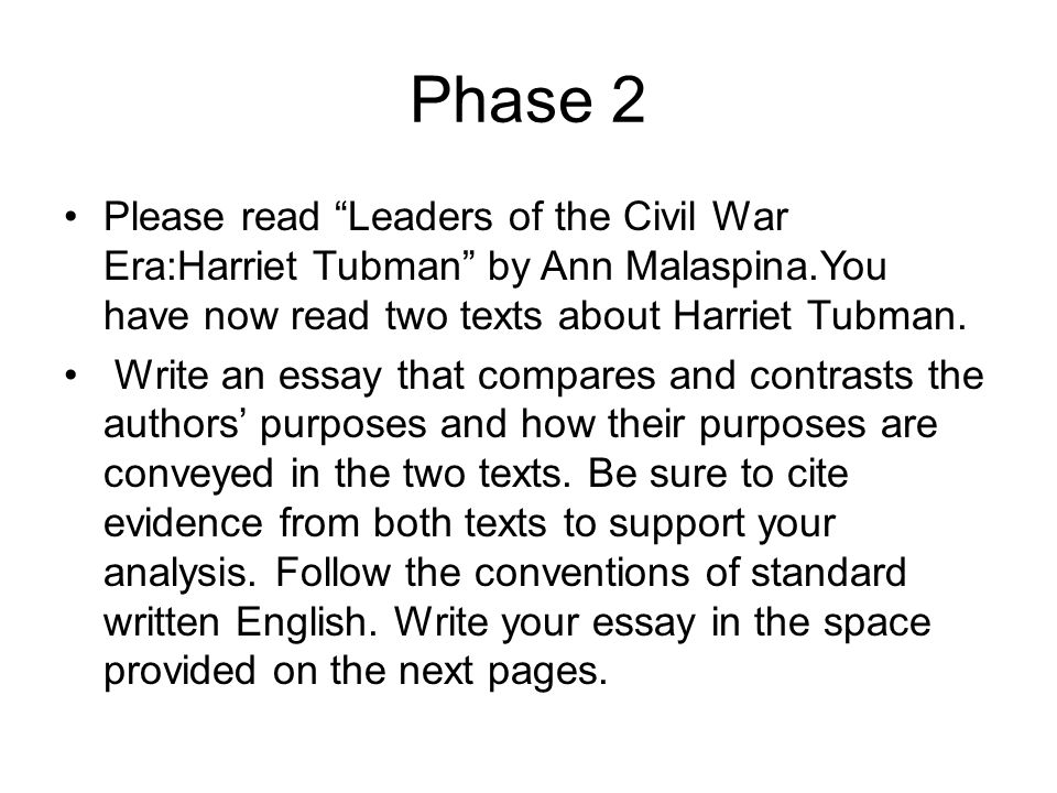 "tap"" the prompt what does the prompt want you to write about  phase 2 please leaders of the civil war era harriet tubman by ann malaspina"