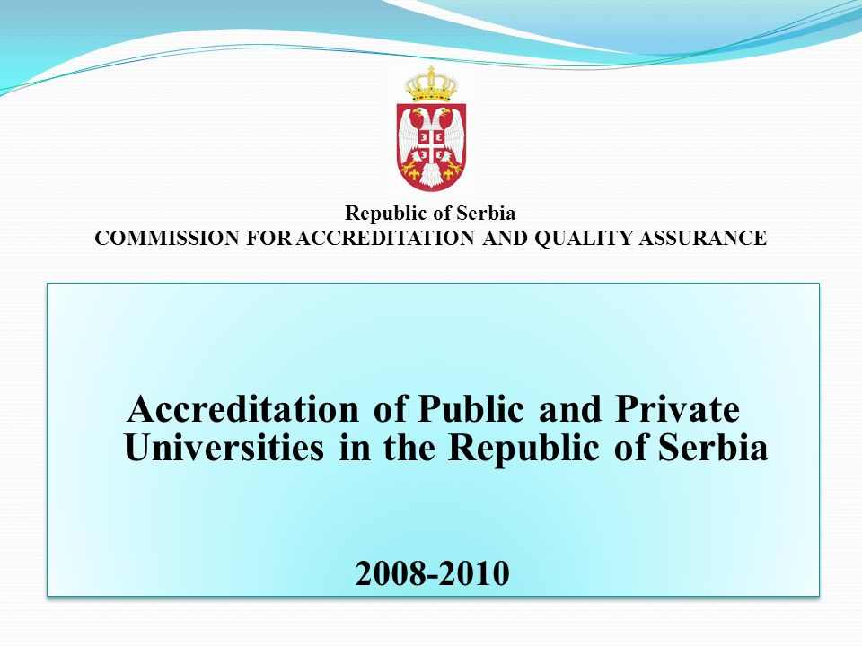 COMMISSION FOR ACCREDITATION AND QUALITY ASSURANCE