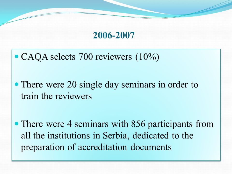 2006-2007CAQA selects 700 reviewers (10%) There were 20 single day seminars in order to train the reviewers.