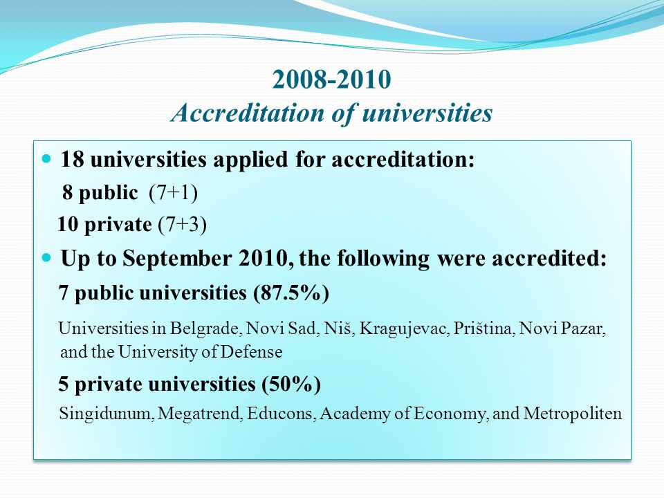 2008-2010 Accreditation of universities