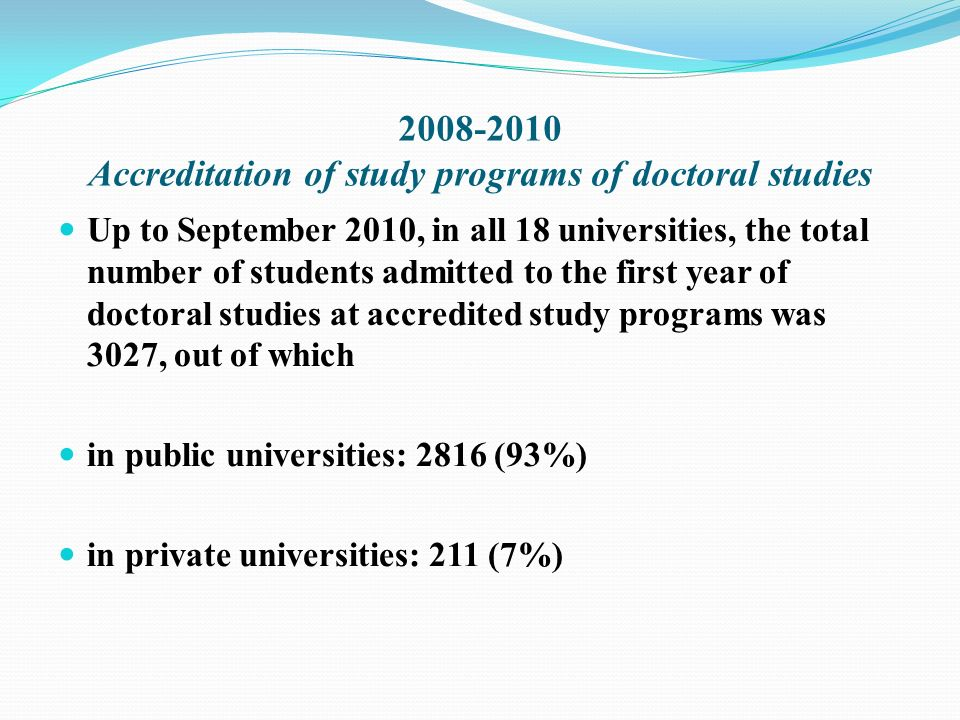 2008-2010 Accreditation of study programs of doctoral studies