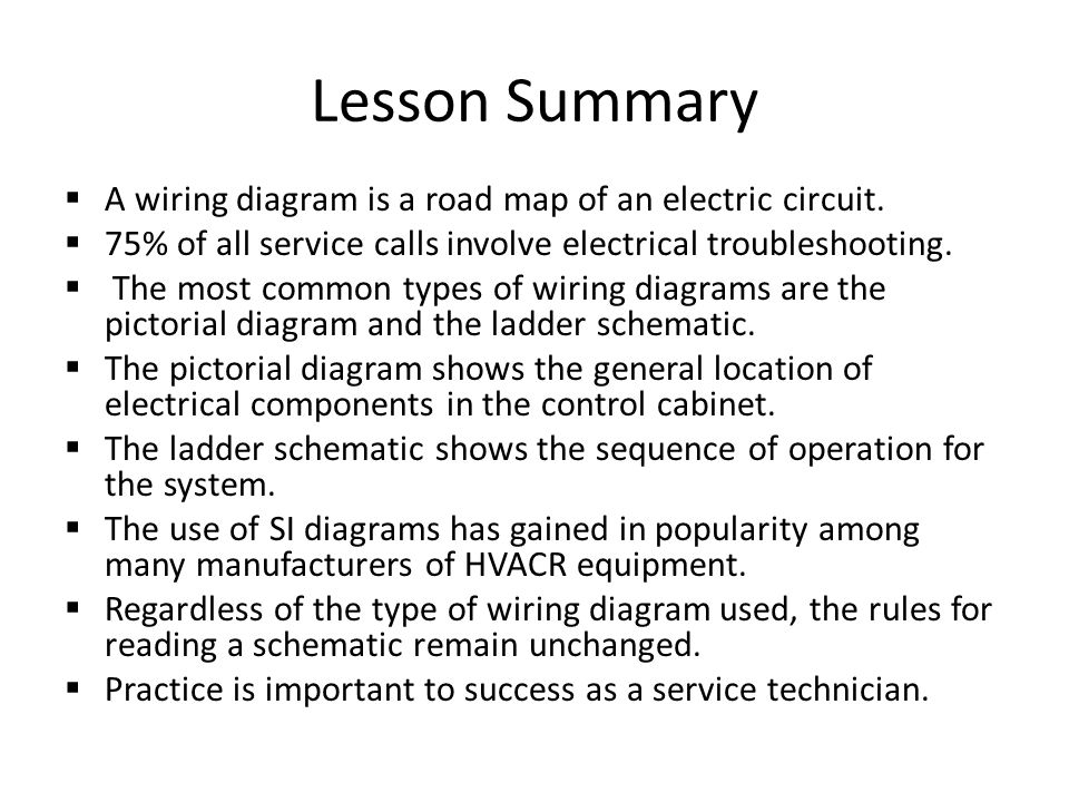 Lesson+Summary+A+wiring+diagram+is+a+road+map+of+an+electric+circuit. reading electrical schematics ppt download pictorial wiring diagrams generally show components at pacquiaovsvargaslive.co