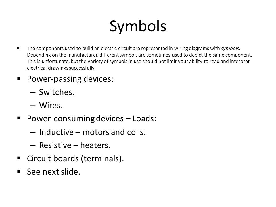 reading electrical schematics ppt symbols power passing devices switches wires
