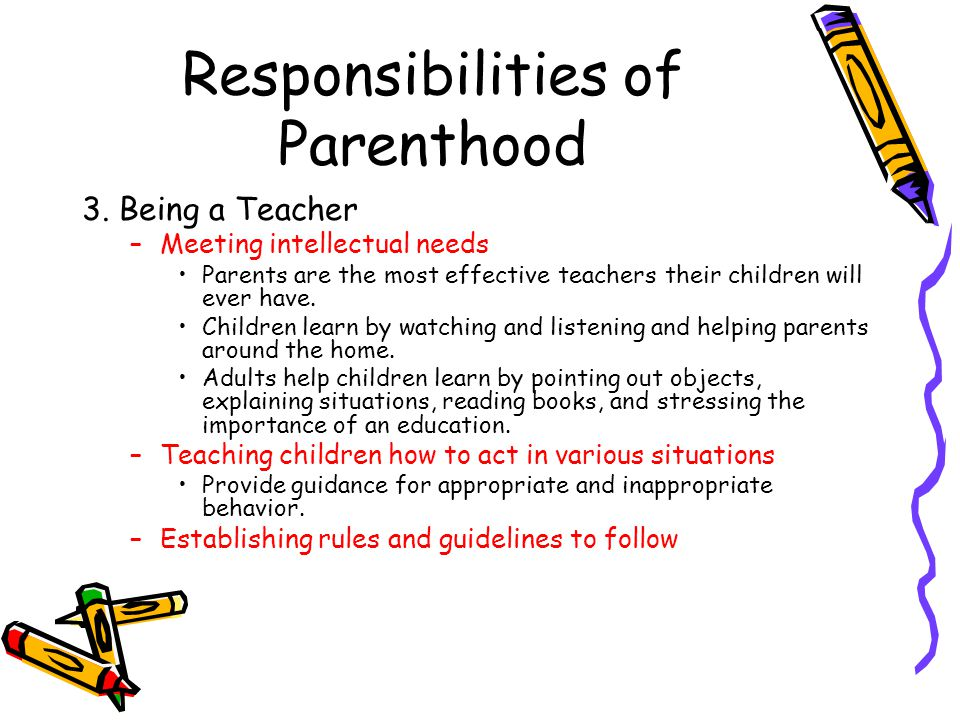 parenthood the importance of teaching responsibility Helping your child become a responsible citizen to understand the importance of being honest and fair, children need to learn that living together in a family, community or even a nation.
