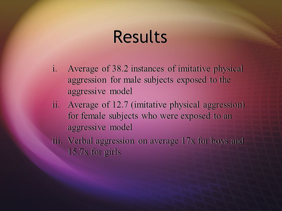 Results Average of 38.2 instances of imitative physical aggression for male subjects exposed to the aggressive model.
