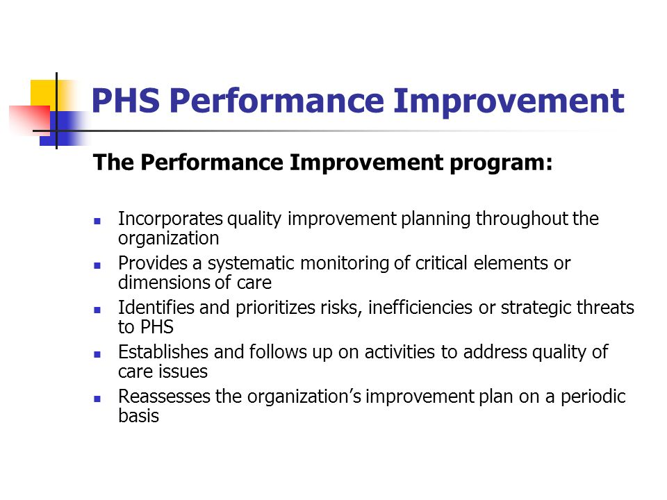 PHS Performance Improvement
