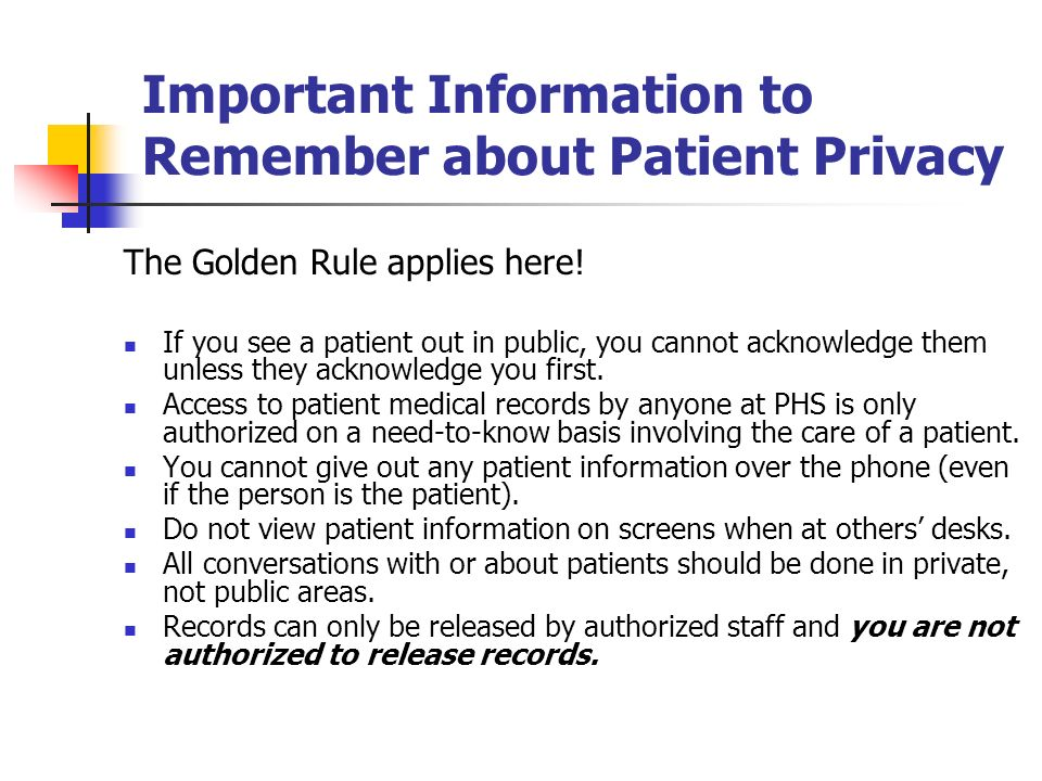 Important Information to Remember about Patient Privacy