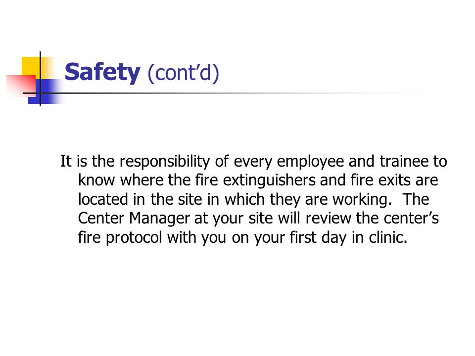 Safety (cont'd)