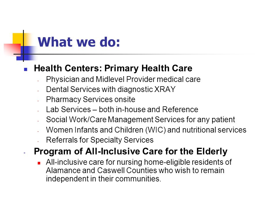 What we do: Health Centers: Primary Health Care
