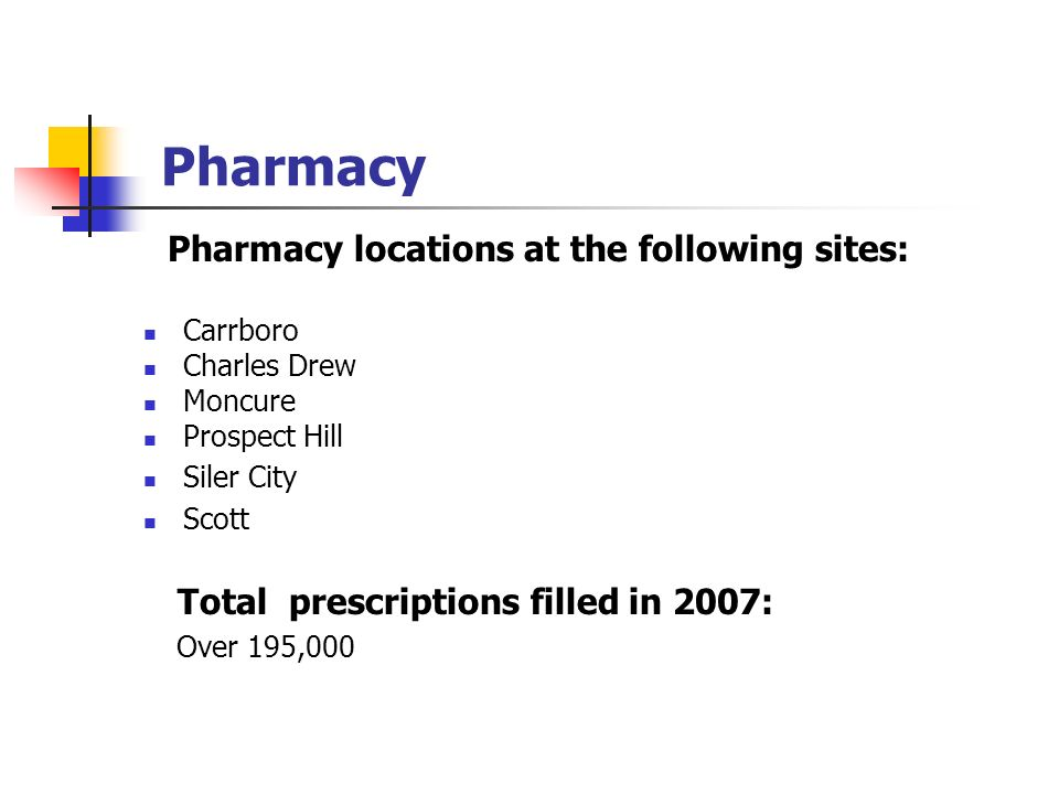 Pharmacy locations at the following sites: