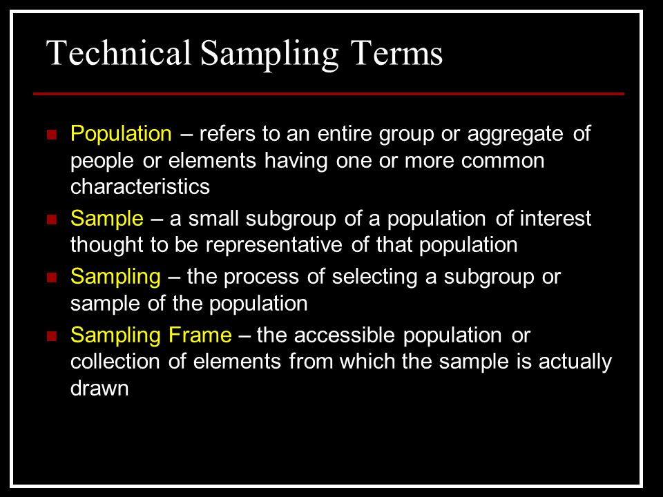 Technical Sampling Terms