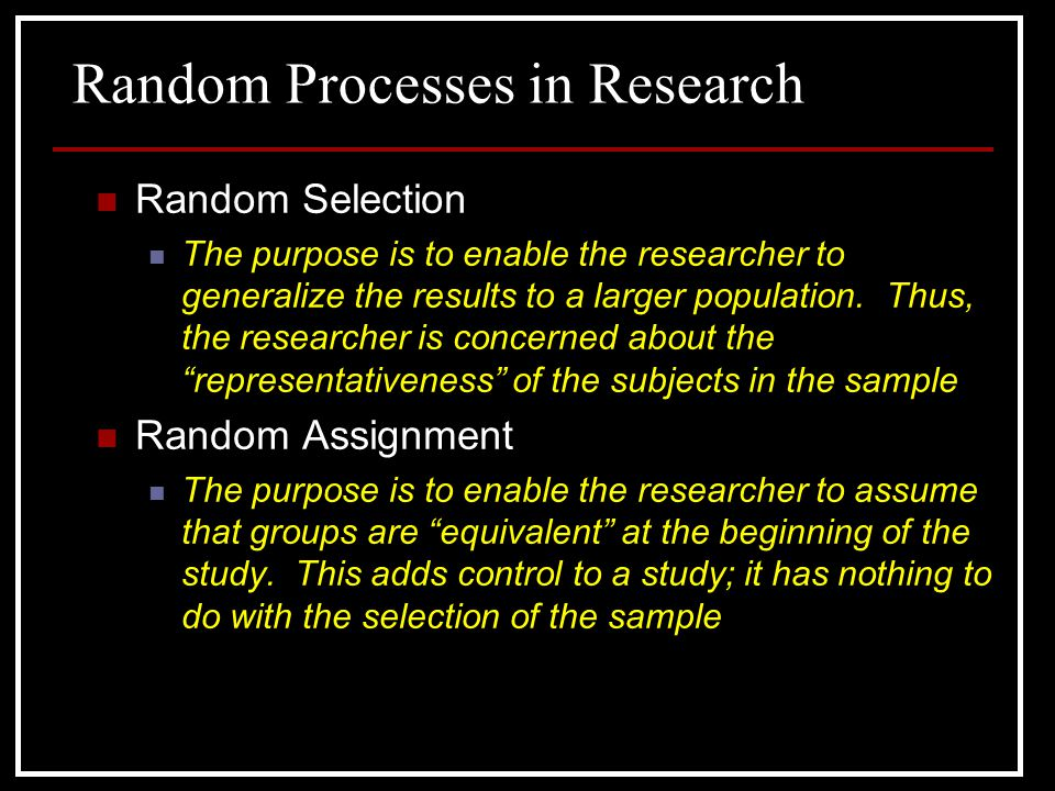 Random Processes in Research