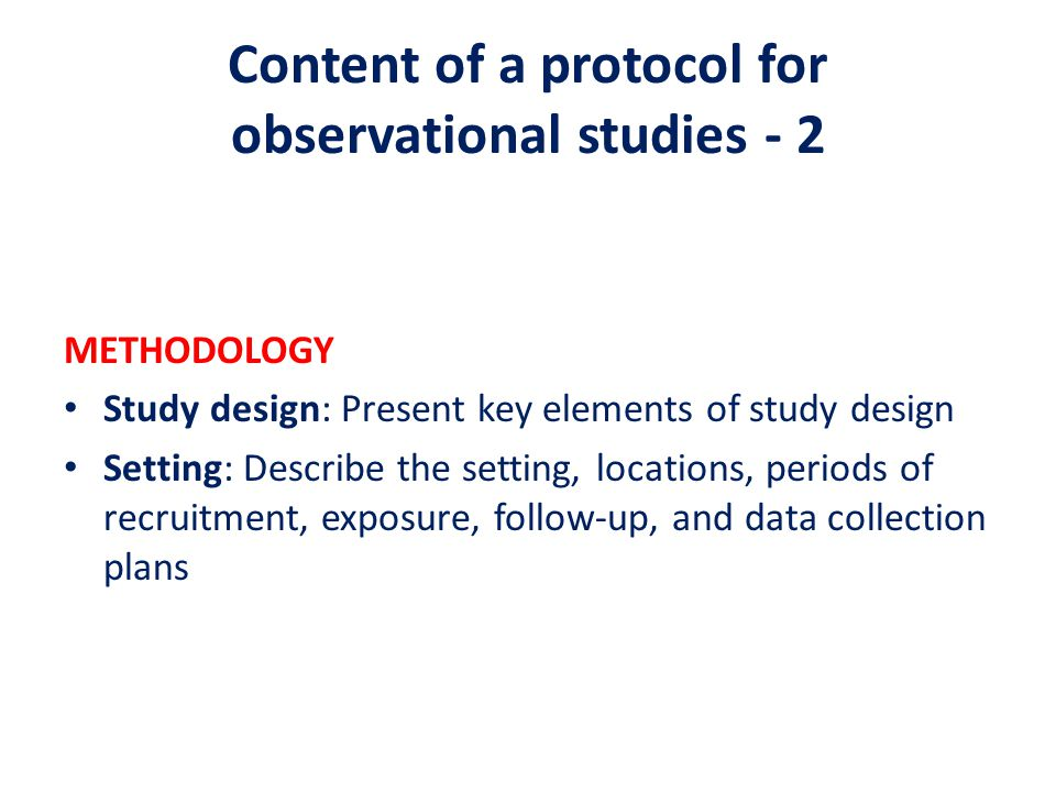 Content of a protocol for observational studies - 2